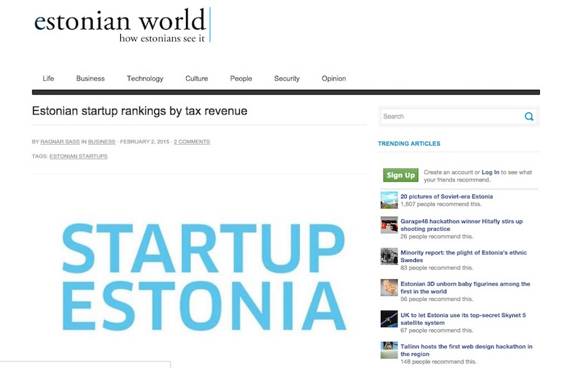 Estonian startup rankings by tax revenue