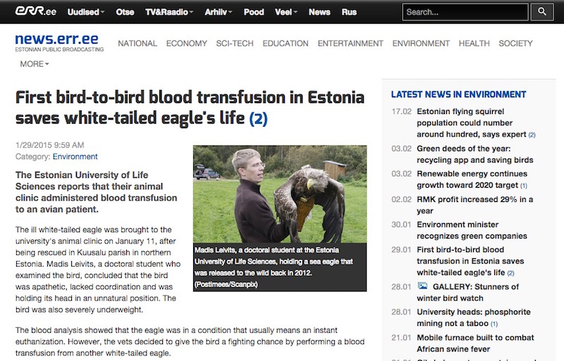First bird-to-bird blood transfusion in Estonia